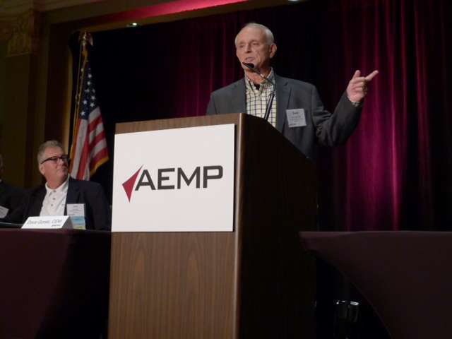 Dave Gorski, CEM, and shop administrator for K-Five Construction, gives a presentation at the 2014 AEMP Asset Management Symposium.