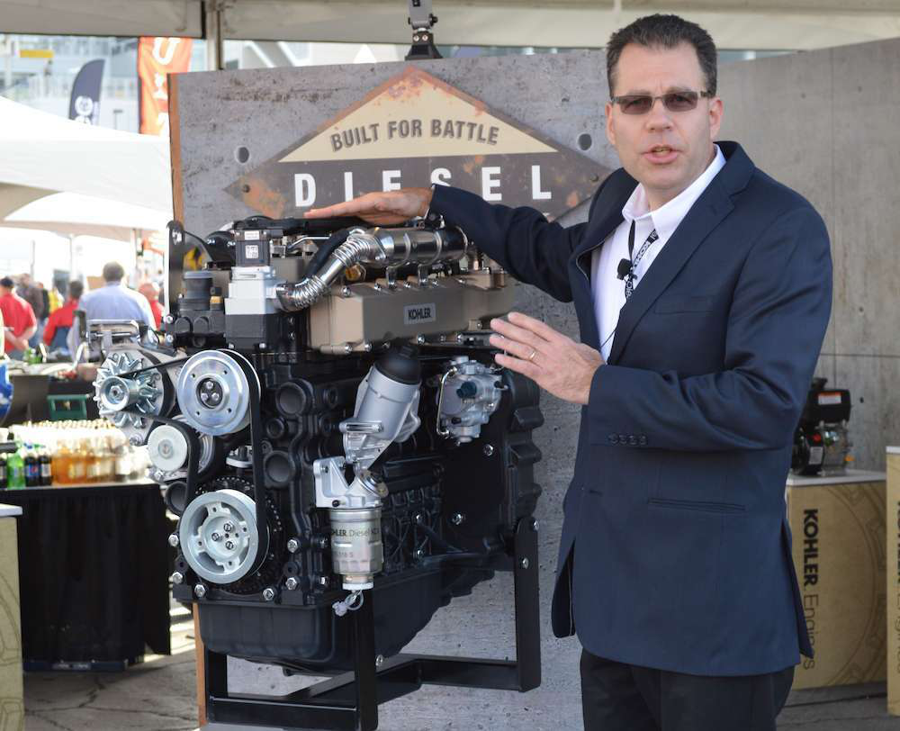 Jeff Wilke, product manager for diesel engines in North America, with the KDI 3404.