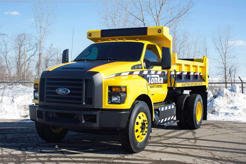 photos ford unveils a real tonka dump truck built from an f 750 video. Black Bedroom Furniture Sets. Home Design Ideas
