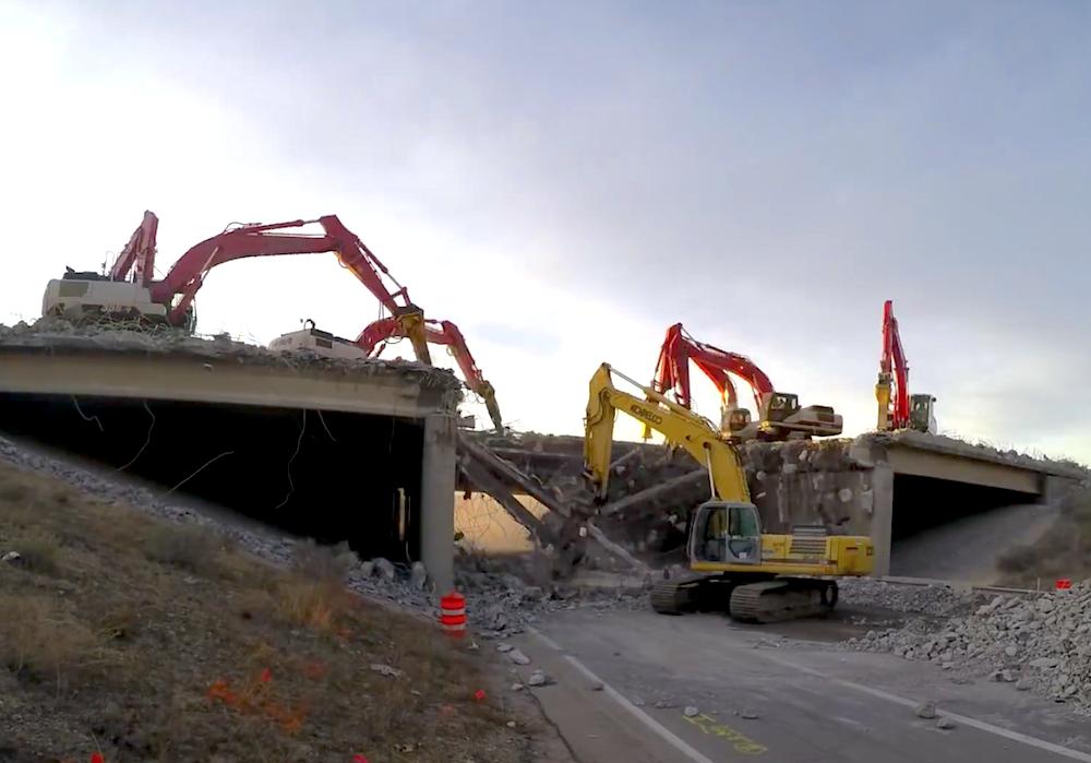Utah excavator bridge demolition time-lapse