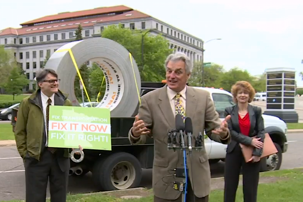 Still From The KARE 11 Newscast Shows Campaigns Giant Roll Of Duct Tape