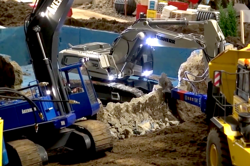VIDEO Watch This Mini RC Liebherr Excavator Actually Demo A Pool With Working Shears Breaker PHOTOS