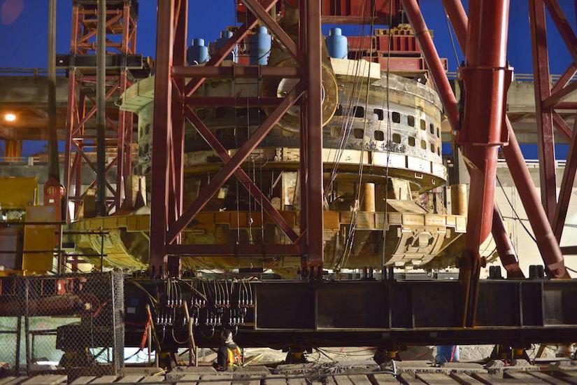 Big Bertha's cutterhead lifted for repairs
