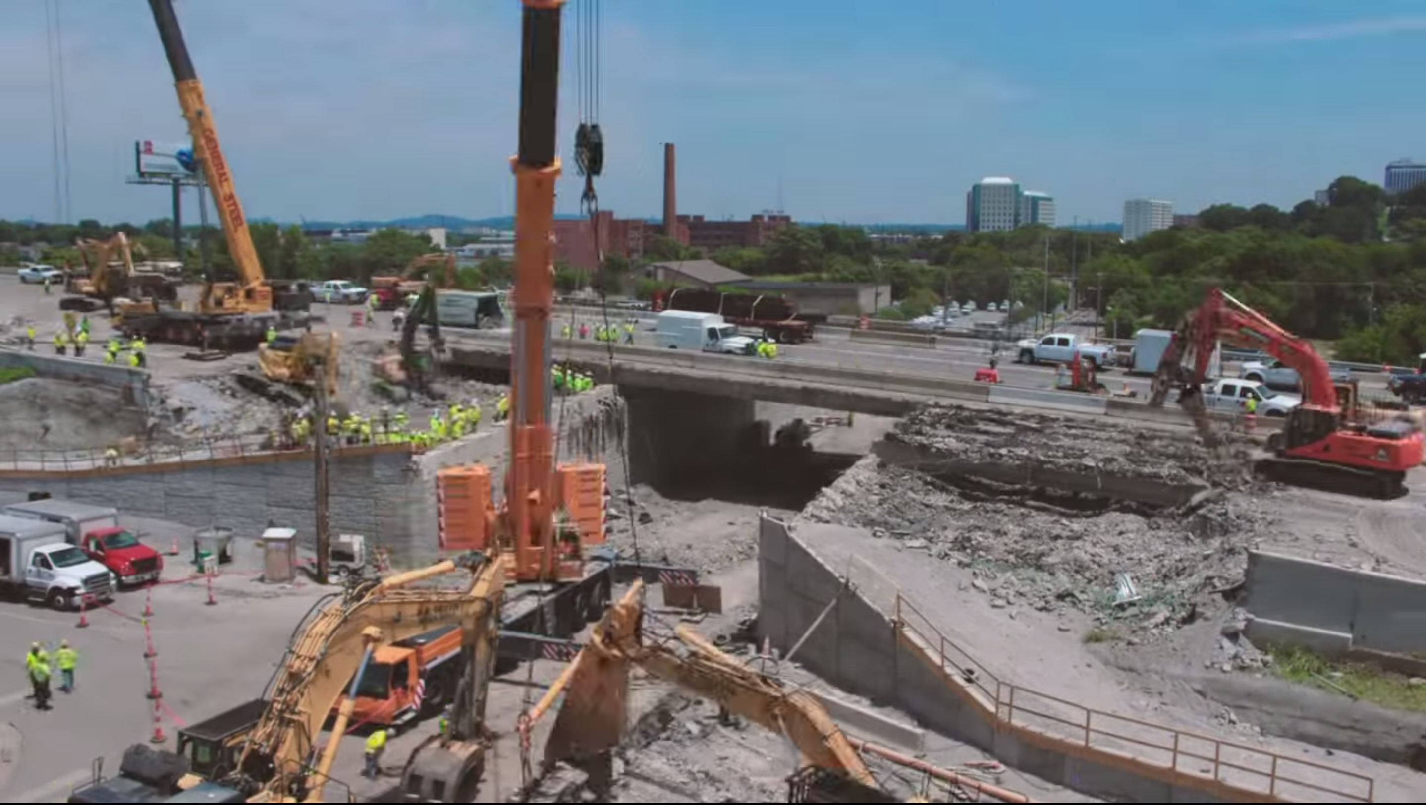 VIDEO: Watch TDOT crews destroy and rebuild a bridge in only 58