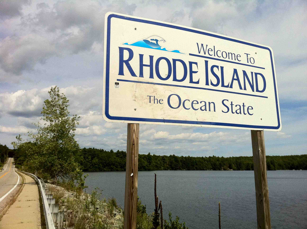 """Pachaug Trail - """"Welcome to Rhode Island sign"""" at Beach Pond, Hope Valley, RI"""