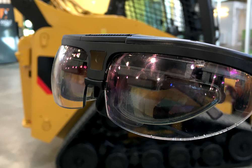 A pair of augmented reality goggles Cat is using as part of its efforts to develop an app that assists technicians with the servicing and inspections of machines in real time.