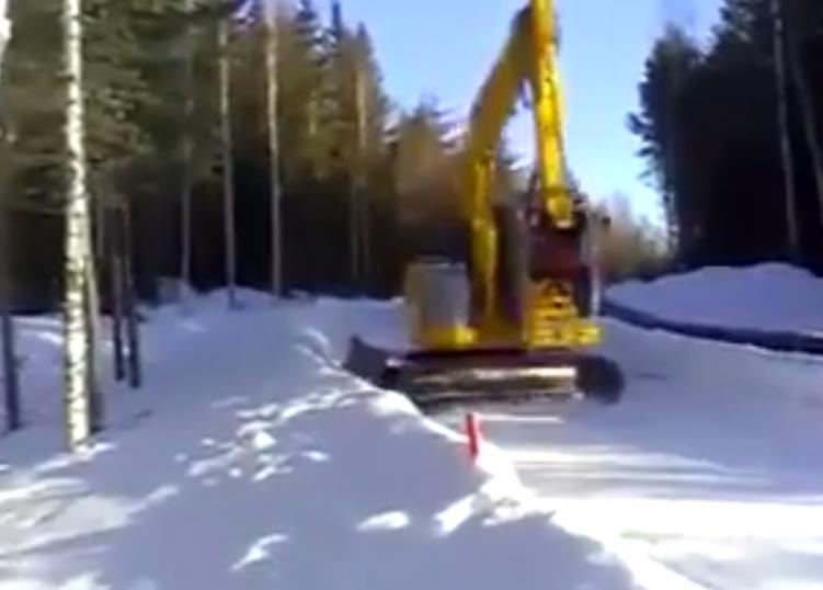Excavator sledding