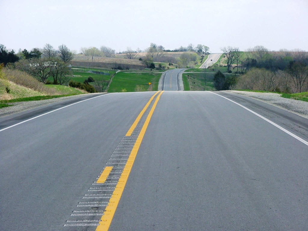 A view of the new section of U.S. 34 in Iowa