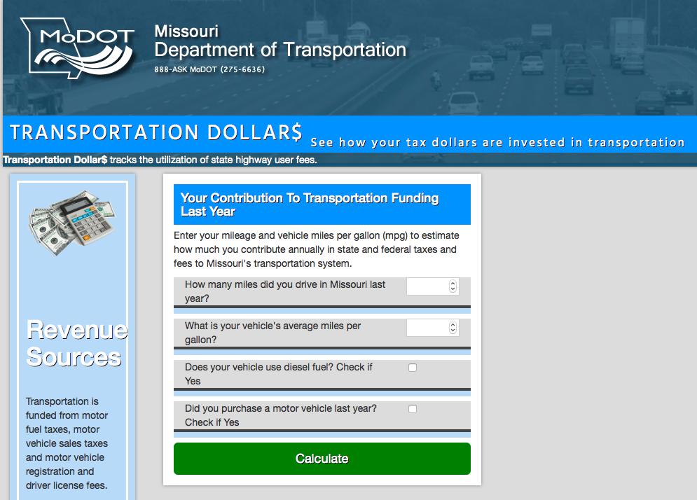 Missouri DOT online calculator breaks down drivers' fuel tax