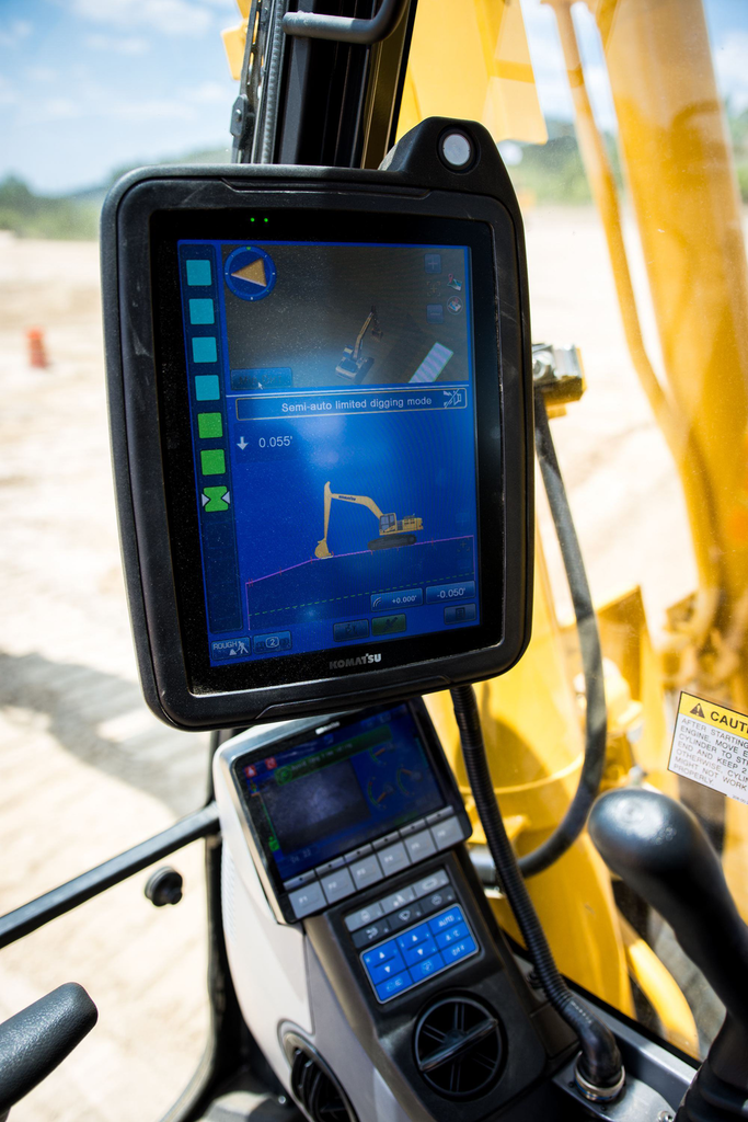 The 12-inch monitor in the cab offers multiple views of the job, and orientation of the machine and the work in progress relative to the design. Photo credit: Wayne Grayson