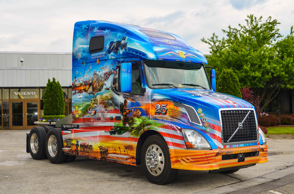 "Mack, Volvo unveil 2016 ""Ride for Freedom"" trucks honoring U.S. military"