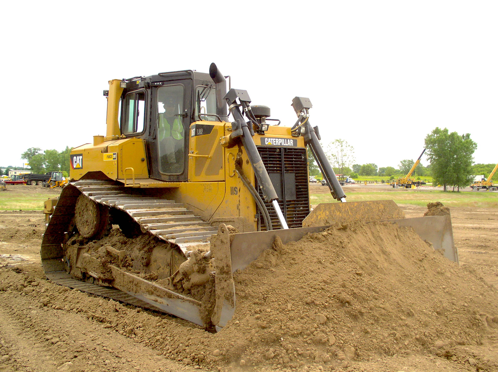 Student David Gomroth shows off his dozer operating skills. Gomroth is participating in a 6-week heavy equipment training program at Associated Training Services, Sun Prairie, Wis.