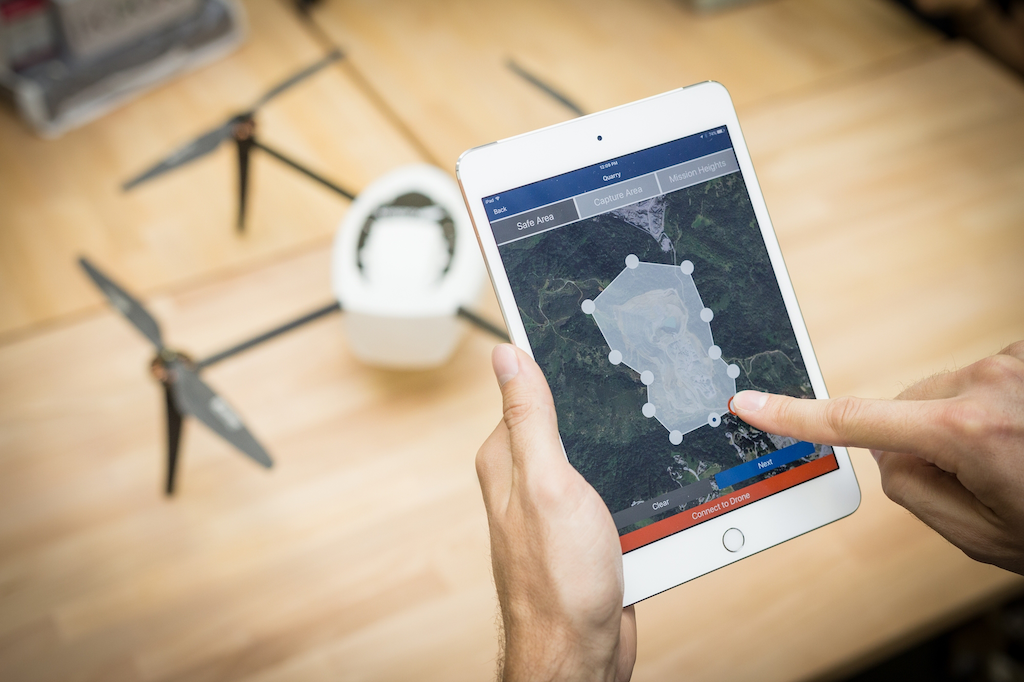 Telling Kespry's Drone 2.0 what to map is as easy as drawing a circle through its iPad app.