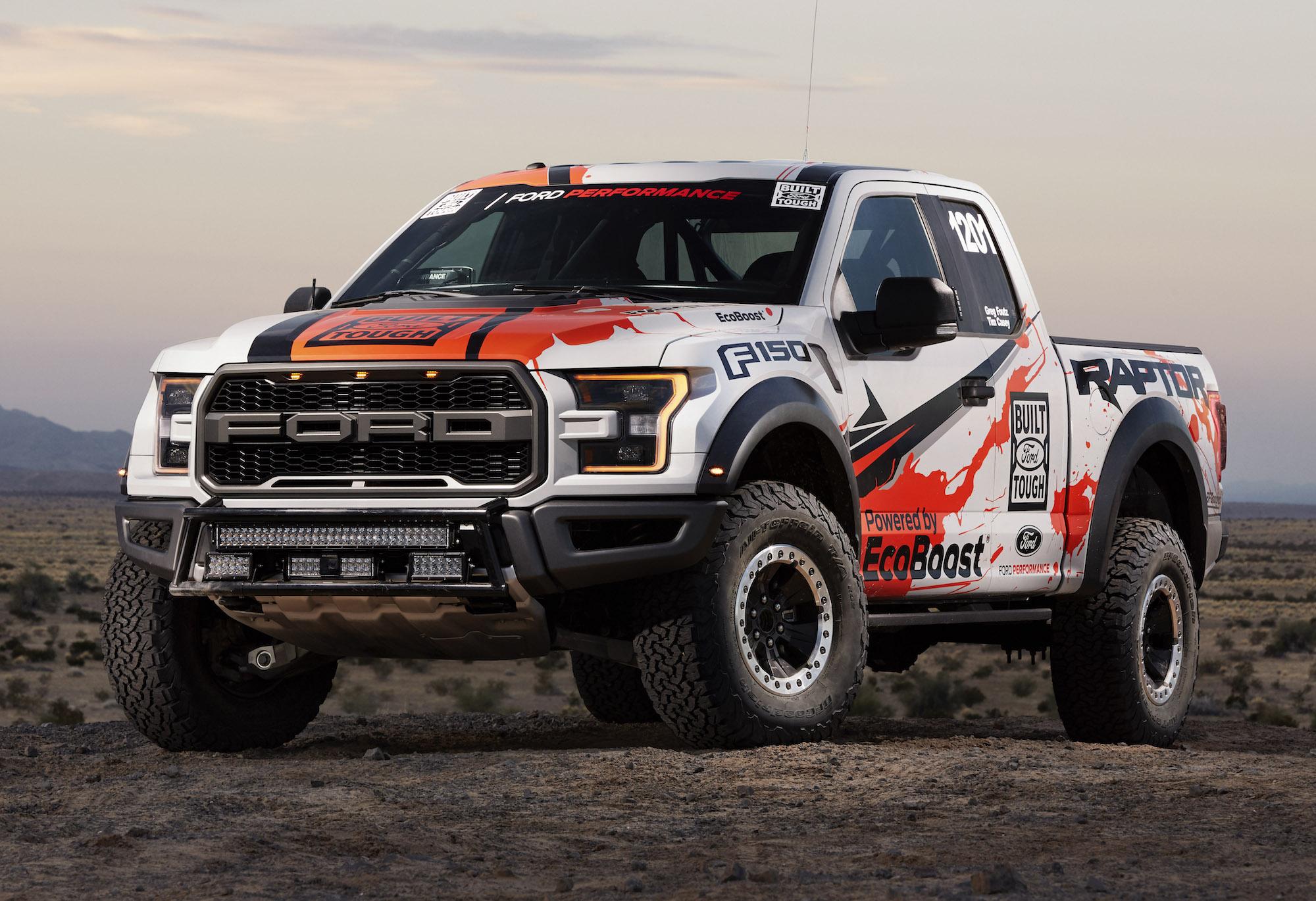 ford shows off 2017 f-150 raptor baja 1000 race truck at sema
