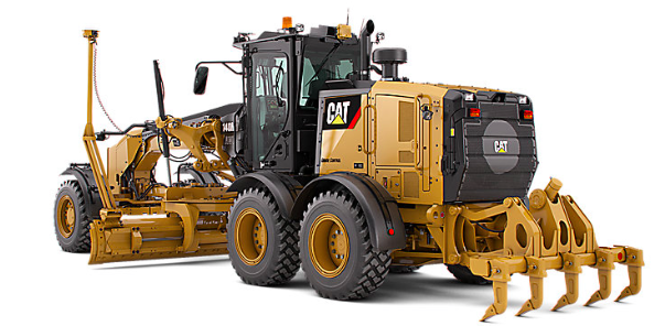 Yellow and black Cat construction machine used to level ground