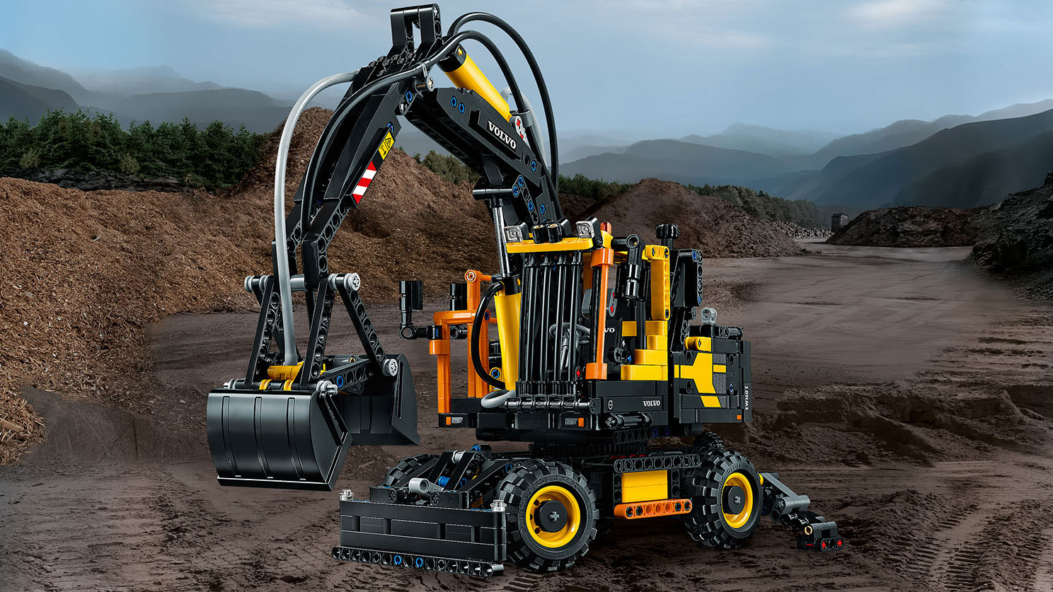 1st day of construction gifts lego volvo ew160e wheeled excavator 2 in 1 technic set. Black Bedroom Furniture Sets. Home Design Ideas