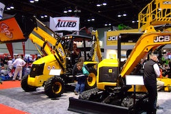 Rental Show 2017 attendees check out the JCB booth. Photo: Chris Hill