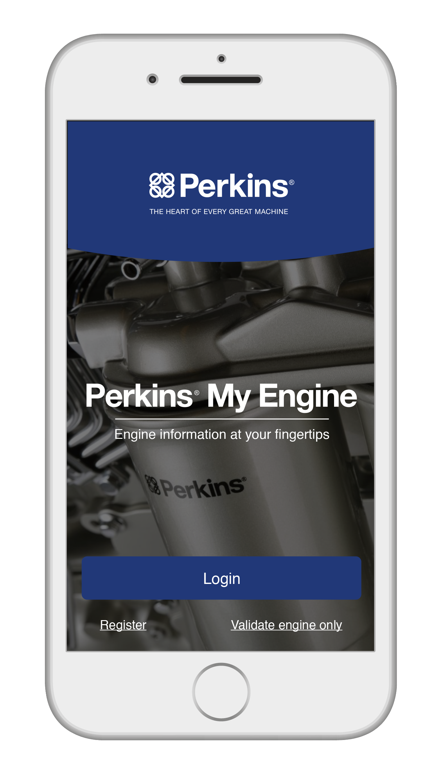 The landing page for Perkins My Engine App. Photo: Perkins