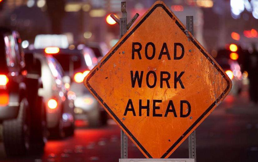 road charlotte nc dump truck company ahead sign