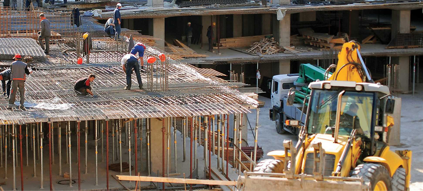 Construction workers on a commercial worksite