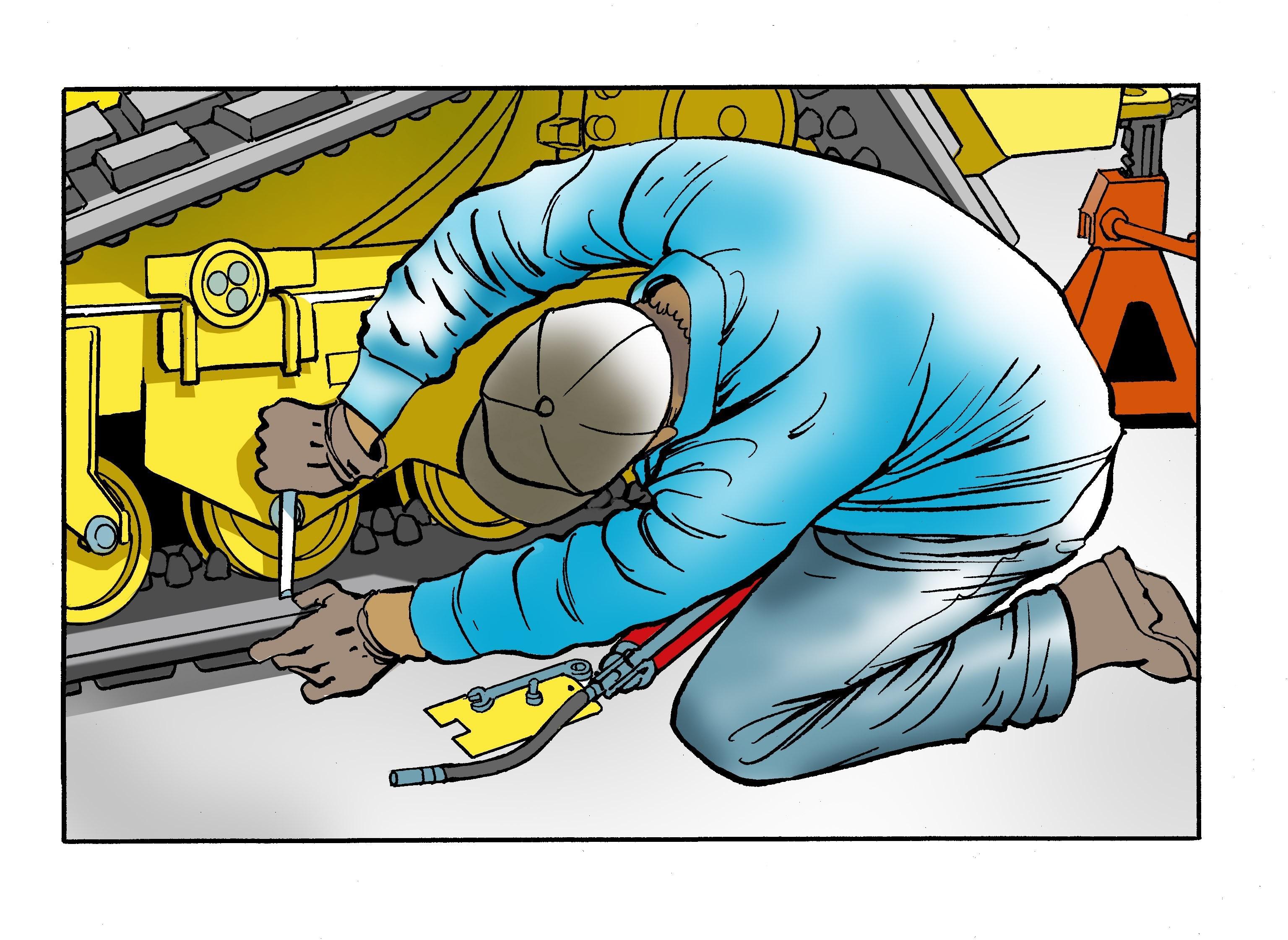 measuring track sag on compact track loader
