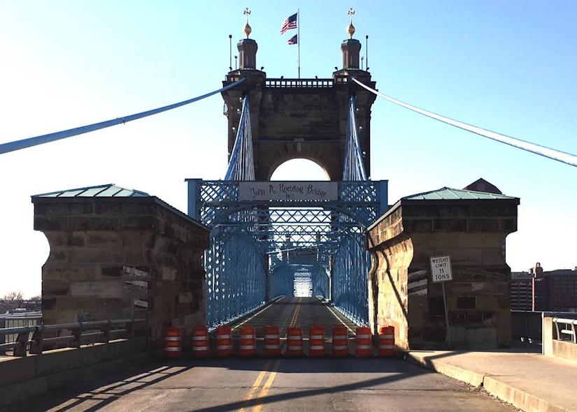Historic Cincinnati bridge closed for repairs after car