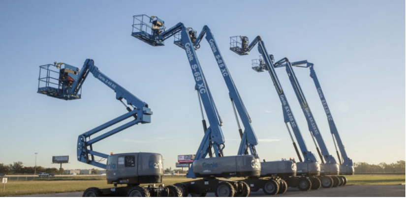 Genie-branded aerial lifts in a row