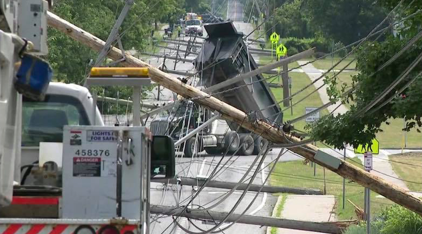 Accident involving dump truck takes down power lines