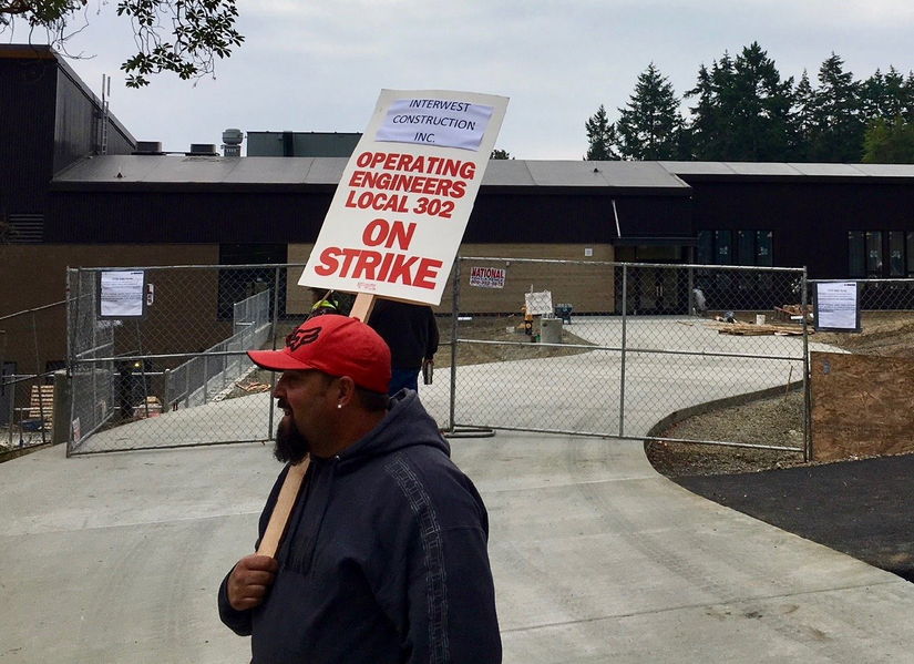 Construction Workers On Strike In Washington