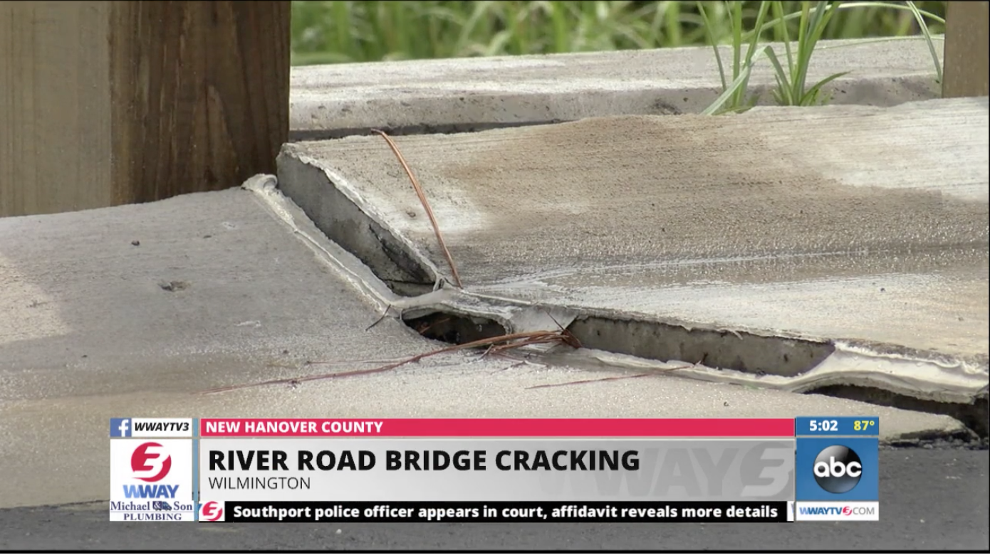 View of the River Road Bridge cracking