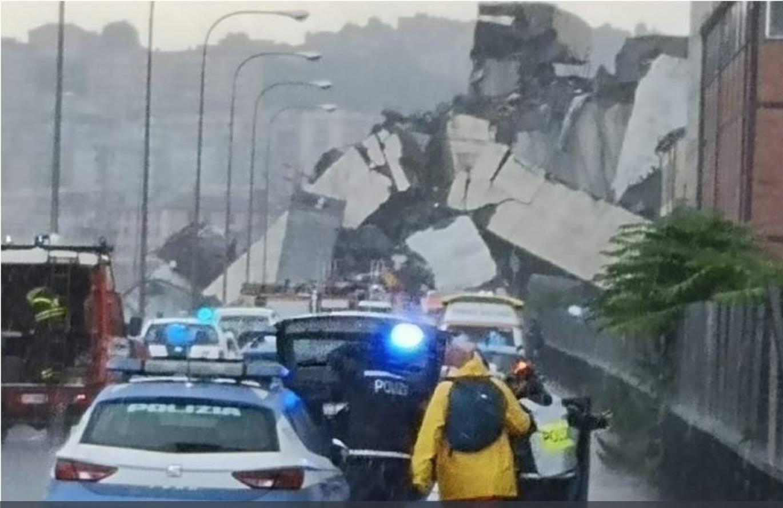 Street view of Ponte Morandi after collapsing