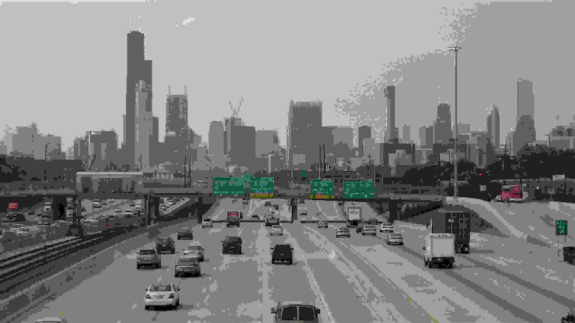View of downtown Chicago from traffic
