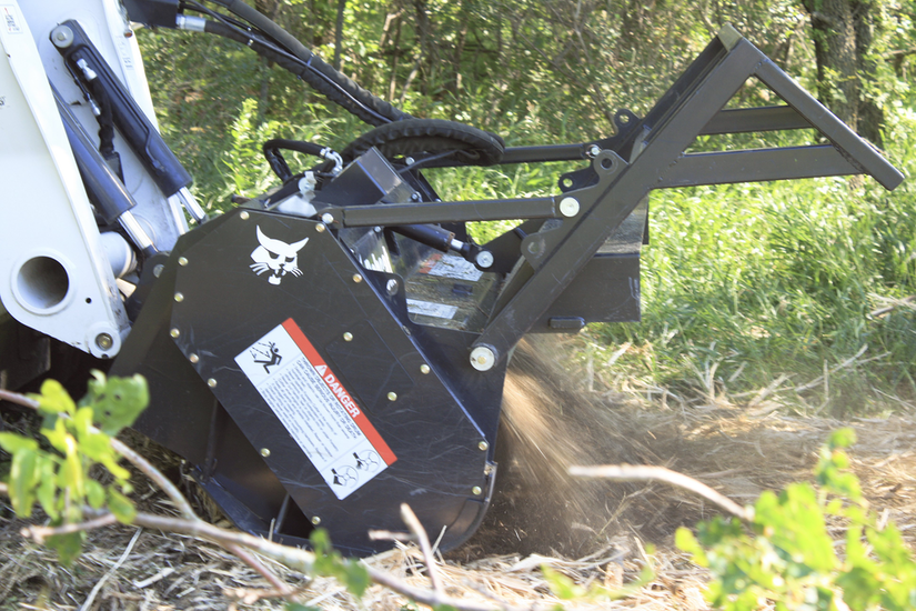 Construction equipment attachments for land-clearing