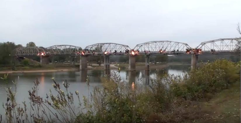 Highway 76 bridge being demolished