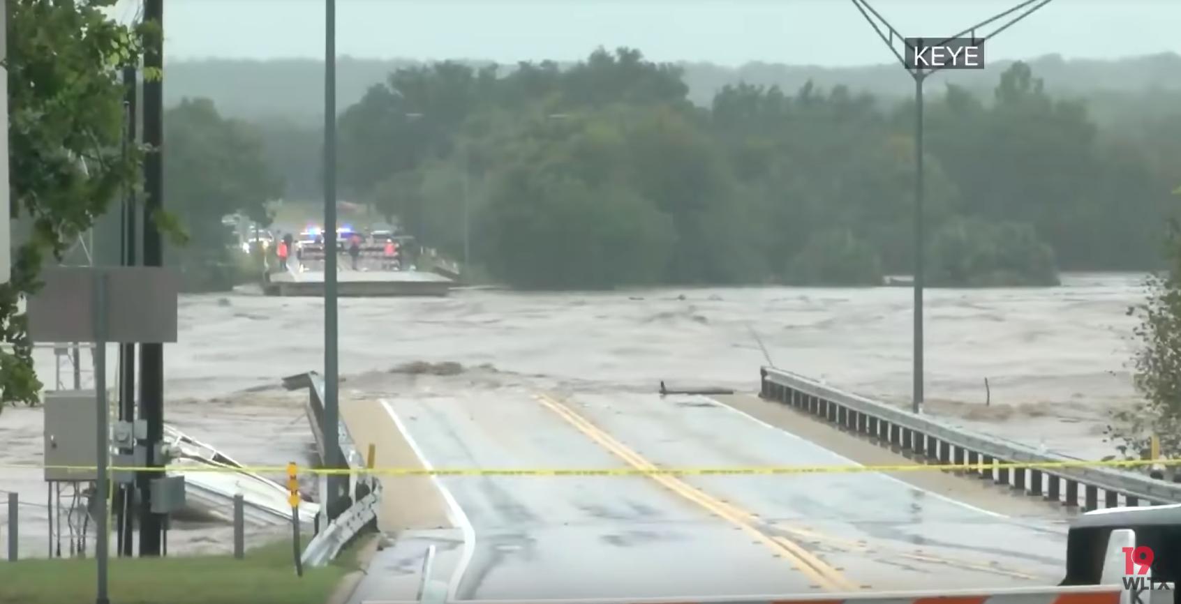 Flooded RM 2900 bridge in Kingsland, Texas