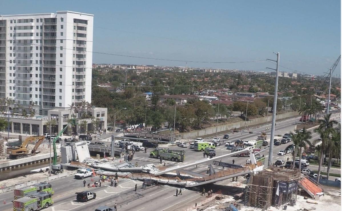 Miami Bridge Collapse Scene