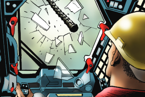 Rebar smashing through windshield of a skid steer cartoon