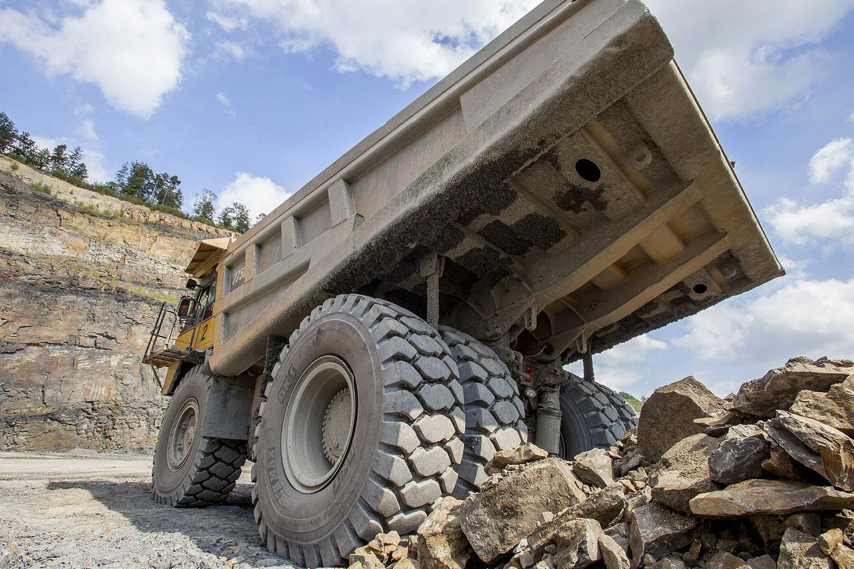 BKT tires on articulated hauler