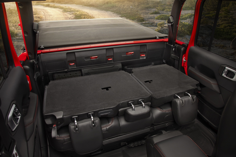 Backseats folded down in the 2020 Jeep Gladiator