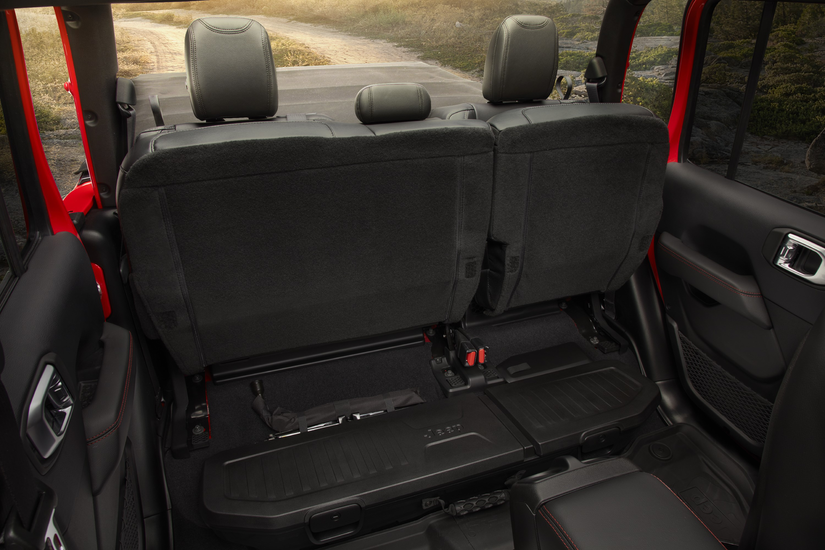 Backseats folded up to allow storage access on the 2020 Jeep Gladiator