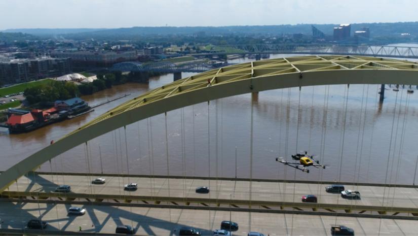 Drone flying near the Daniel Carter Beard Bridge