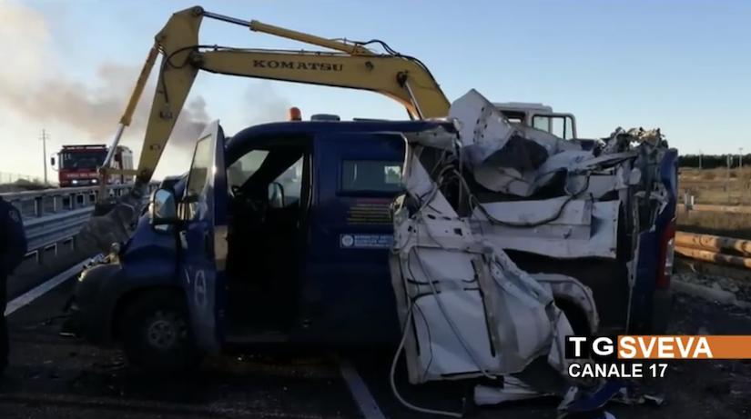van ripped open by excavators