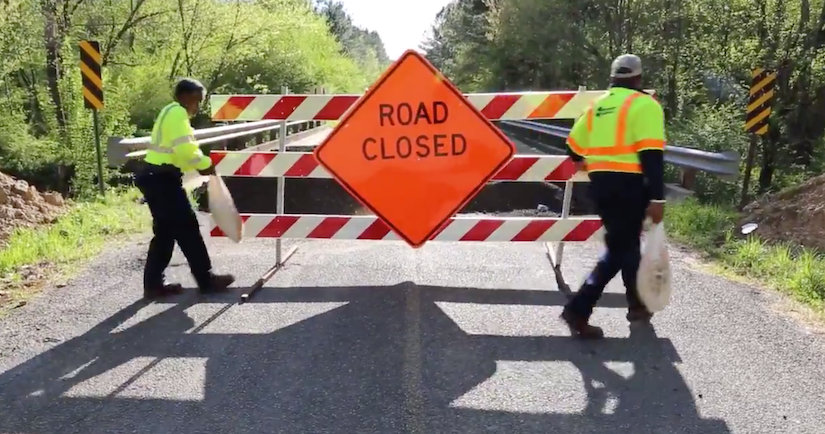 mississippi dot workers add road closed sign to deficient bridge