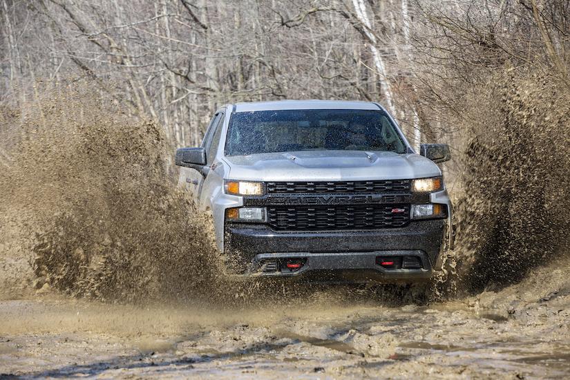 2020 Chevrolet Silverado Custom Trail Boss through mud