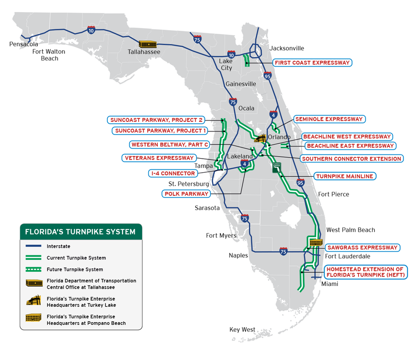 Road Map Of Central Florida.Florida Legislature Approves Three Toll Road Additions