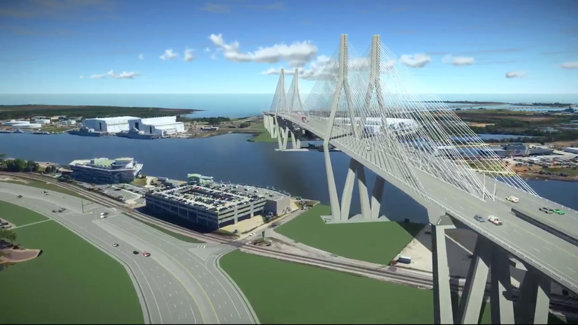 Mobile River Bridge and Bayway expansion rendering