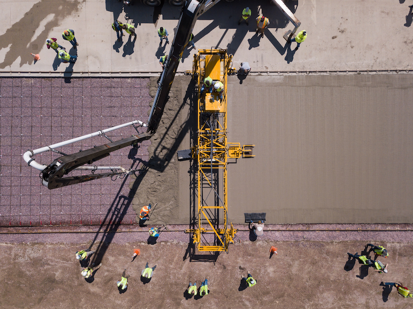 aerial view of 3600CR remote-control paver demonstrated by Terex Bid-Well