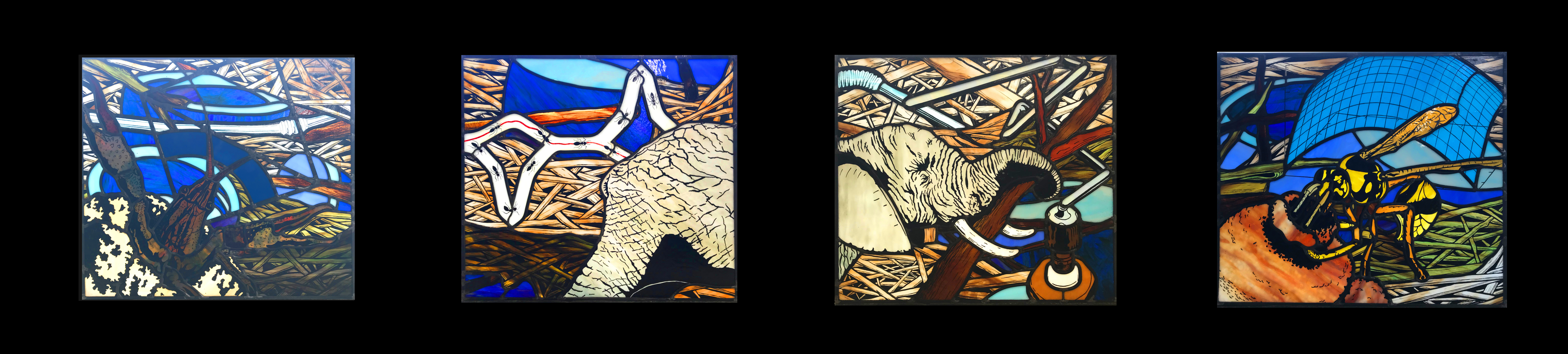 Up close image of stained-glass panels on dump truck