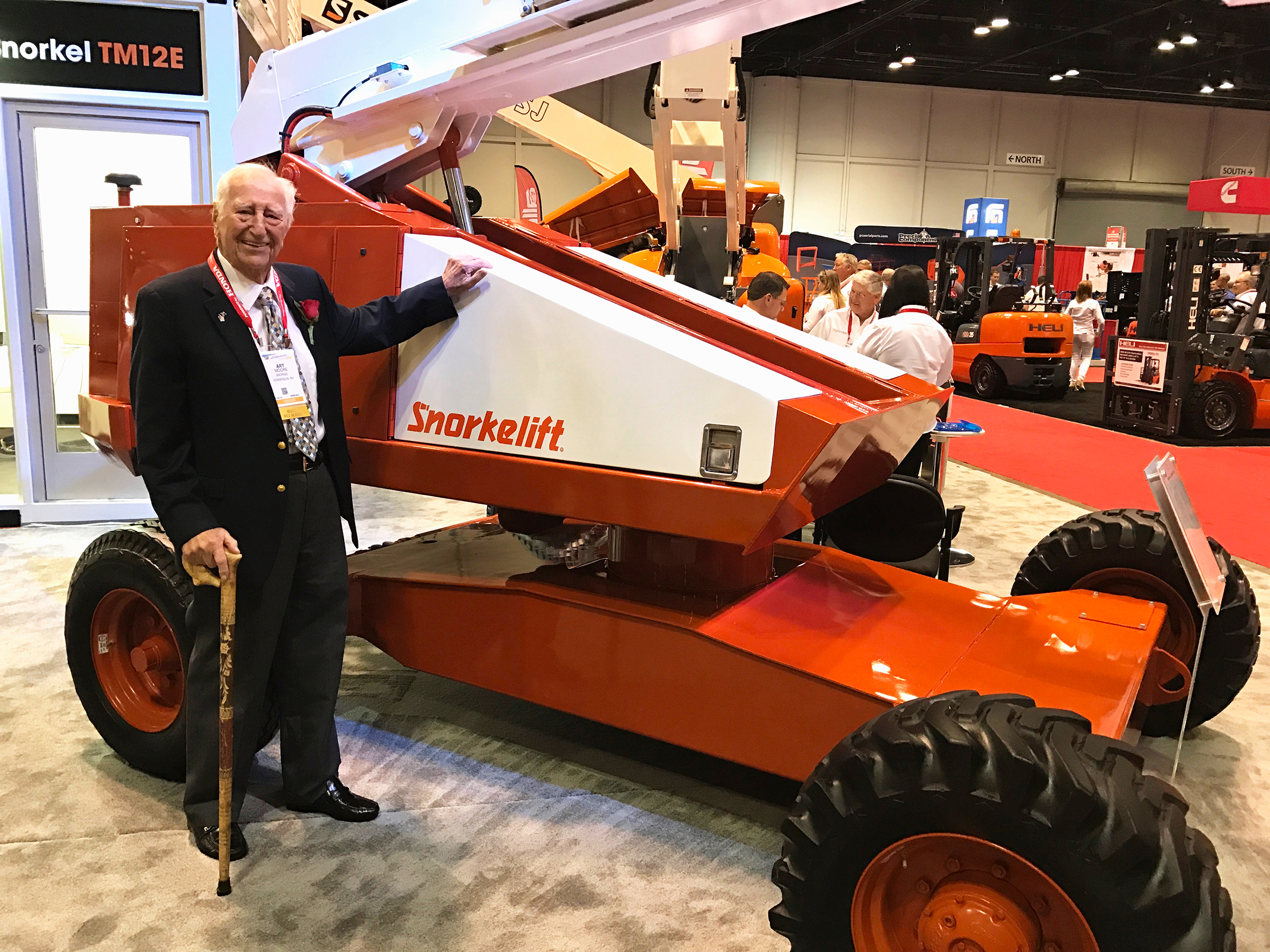 Art Moore next to the first built Snorkel TB42
