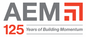 Association of Equipment Manufacturers 125 Years of Building Momentum logo